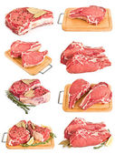Set by fresh raw meat collection isolated on white — Stock Photo