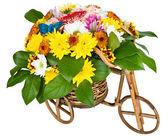 Bicicleta com flores isoladas — Fotografia Stock