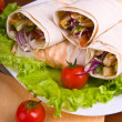 Hot fresh and tasty shawarma with vegetables — Stock Photo