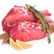 Stock Photo: Raw meat, lemon and spices isolated