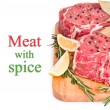 Raw meat with spices, isolated — Stock Photo #25267693