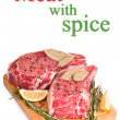 Raw meat with spices, isolated — Stock Photo