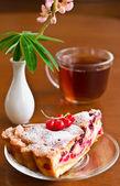 Primer plano de la taza de té con torta — Foto de Stock