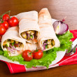 Hot fresh and tasty shawarma with vegetables — Stock Photo #26053699