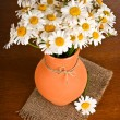 Beautiful bouquet chamomiles in vase — Stock Photo
