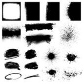 Set Black Grunge Design Element — Stock Vector