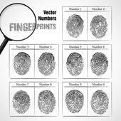 Numrerar av fingeravtryck — Stockvektor