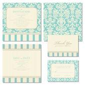 Set bruiloft uitnodigingen en aankondigingen met vintage backgr — Stockvector