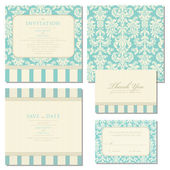 Set of wedding invitations and announcements with vintage backgr — ストックベクタ