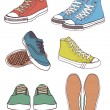 Set of sneakers — Stock Vector