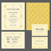Set of classic wedding invitations — Stock Vector