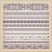 Vector set vintage ornate border frame with retro ornament patte — Stock Vector