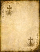 Christian cross on old paper or parchment — Stock Photo