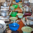 Stock Photo: Cookware on long table
