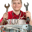 Repair your computer. Troubleshooting with a spanner. - Stock Photo