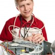 Repair your computer. A young man calls to technical support. - Stock Photo