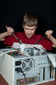 Repair your computer. Troubleshooting with a spanner. — Stock Photo
