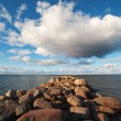 Stock Photo: Breakwater and cloud.