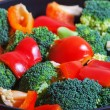 Foto Stock: Vegetables on pan.