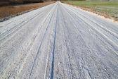 Sníh na venkovské silnici. — Stock fotografie