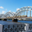 Riga railway bridge, Latvia. — Stock Photo