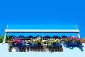 Blue balcony. — Stock Photo