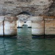 Seine river under parisian bridge. — Stock fotografie