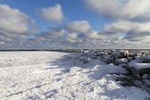 Old breakwater in winter. — ストック写真