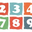 Stock Vector: Vintage colored numbers set