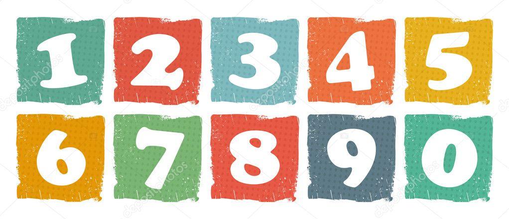 复古彩色的数字集 — 图库矢量图片 #21701883