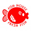 Fish house emblem — Stock Vector