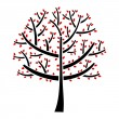 Black tree with red leaf — Stock Vector