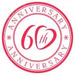 Sixty Years Anniversary stamp — Stock Vector