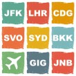 Stock Vector: World airports icons