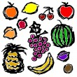 Royalty-Free Stock Imagem Vetorial: Fruits set