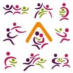 Happy family icons set — Stock Vector