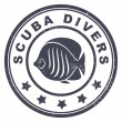 Scuba divers stamp — Stock Vector