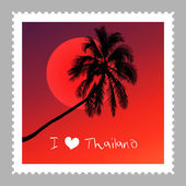 I love Thailand illustration — Stock Vector