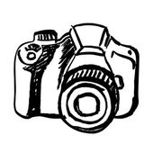 Hand drawn camera — Stock Vector
