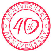 Forty Years Anniversary Stamp — Stock Vector