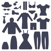 Set of male and female garments — Vector de stock