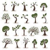 Ensemble d'icônes arbres — Vecteur
