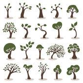 Träd ikoner set — Stockvektor