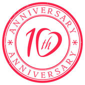 Ten Years Anniversary stamp — Vettoriale Stock