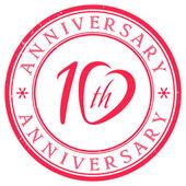 Timbro anniversario di dieci anni — Vettoriale Stock