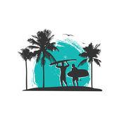 Surfing theme vector design — Stock Vector