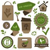 Alimenti biologici ed eco amichevole tema vettoriale insieme — Vettoriale Stock