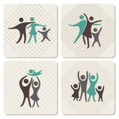 Happy family icons set in vintage style — Stock Vector