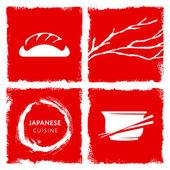 Japanese cuisine theme vector — Stock Vector