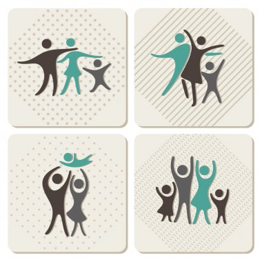Happy family icons set in vintage style
